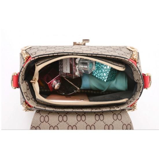 Women Fashion Shoulder Diagonal Red Straped Handbag WB-28RD image