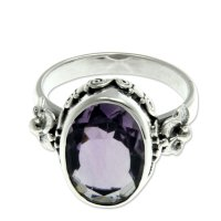 Frangipani Allure Handcrafted Floral Sterling Silver and Amethyst Ring ANDR-23