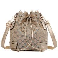 Women Fashion Canvas Silver Geometric Pattern Shoulder Bucket Handbag WB-32S