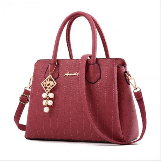 Latest Trending Simple Big Capacity Dark Pink Shoulder Handbag WB-30DP image
