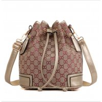Women Fashion Canvas Dark Red Geometric Pattern Shoulder Bucket Handbag WB-32DR