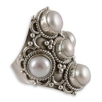 Iridescent Princess White Pearl and Sterling Silver Indian Style Ring ANDR-26