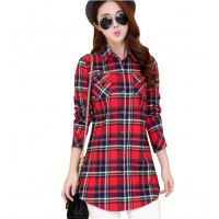 Women Long Paragraph Plaid Red color Cotton Long Sleeve Casual Shirt WC-106