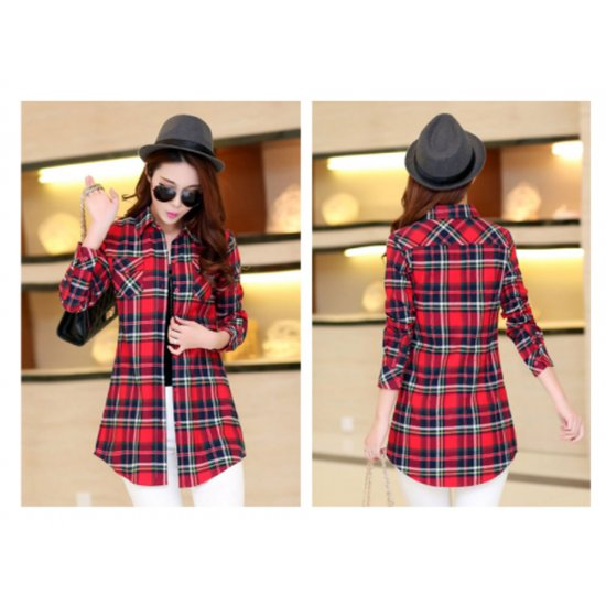 Women Long Paragraph Plaid Red color Cotton Long Sleeve Casual Shirt WC-106