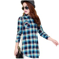 Women Long Paragraph Plaid Blue Cotton Long Sleeve Casual Shirt WC-107