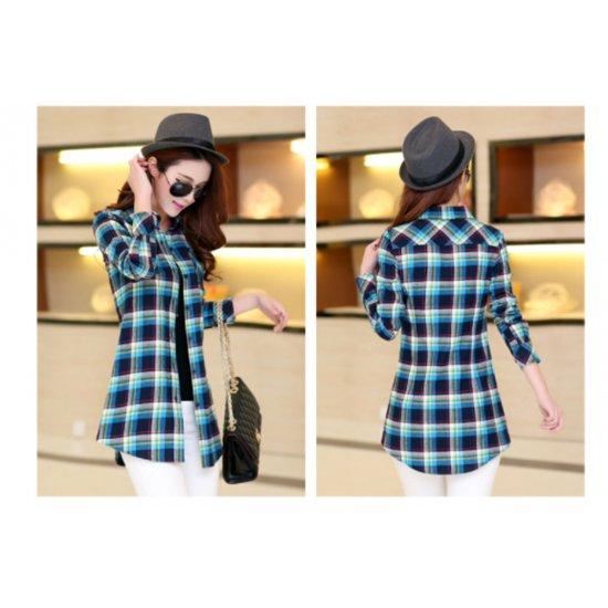 Women Long Paragraph Plaid Blue Cotton Long Sleeve Casual Shirt WC-107
