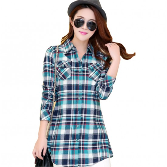 Women Long Paragraph Plaid Green and Blue Cotton Long Sleeve Casual Shirt WC-105