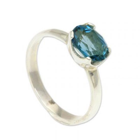 Pacific Glory Fair Trade Blue Topaz Solitaire Ring 2 cts ANDR-27
