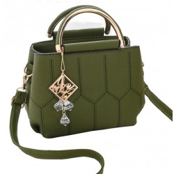 Lining Designed Shoulder Diagonal Green Handbag WB-35GN