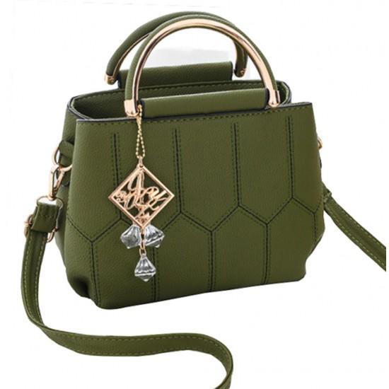 Lining Designed Shoulder Diagonal Green Handbag WB-35GN image
