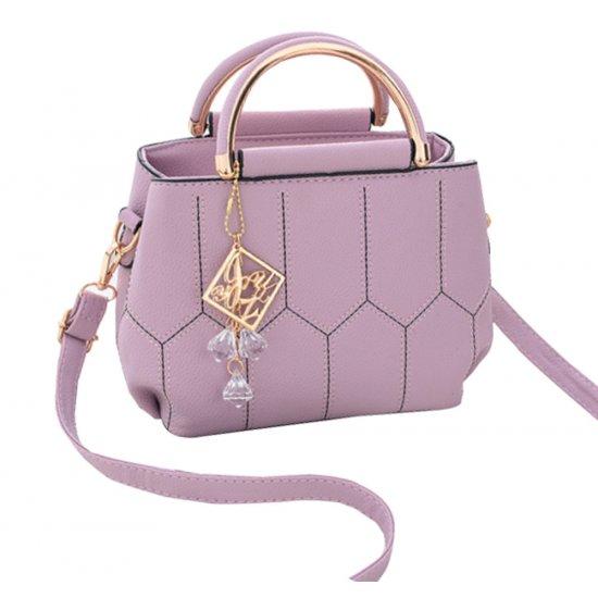 Lining Designed Shoulder Diagonal Purple Handbag WB-35PR