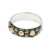 Five Moons Hand Crafted Silver Ring with Accents in 18k Gold Plated ANDR-28