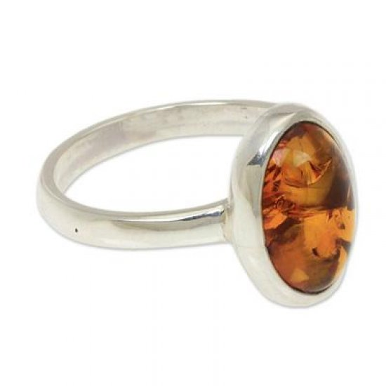 Harmony Sunset Natural Amber on Sterling Silver Ring ANDR-29