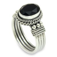 Bali Glow Sterling Silver and Onyx Ring ANDR-36