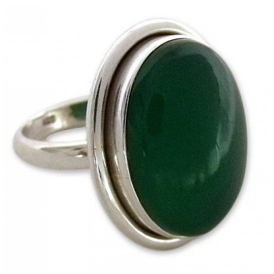 Universe Sterling Silver Single Stone and Green Onyx Cocktail Ring ANDR-38