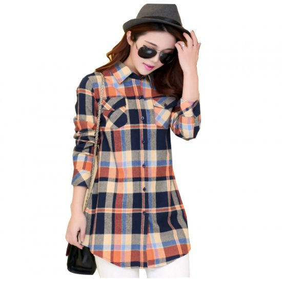 Women Long Paragraph Plaided Linen Brown Cotton Long Sleeve Casual Shirt WC-110