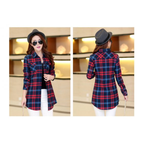 Women Long Paragraph Plaided Linen Dark Blue Cotton Long Sleeve Casual Shirt WC-109