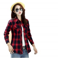 Women Paragraph Checkered Lines Red Cotton Casual Shirt WC-111