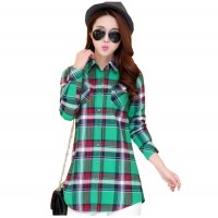 Women Long Paragraph Plaid And Linen Green Cotton Long Sleeve Casual Shirt WC-108