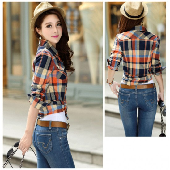 Women Paragraph Checkered Lines Brown Cotton Casual Shirt WC-113