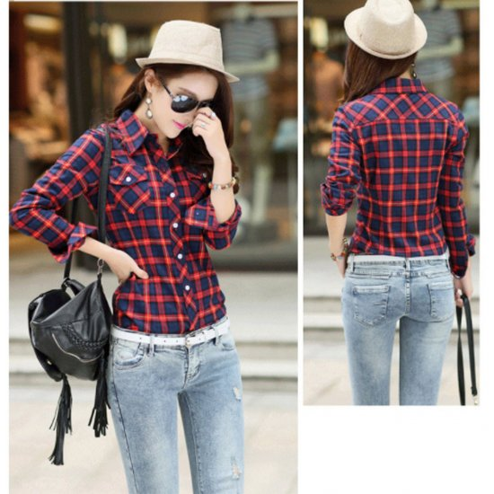 Women Paragraph Checkered Lines Red Cotton Casual Shirt WC-112