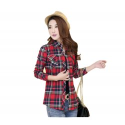 Women Paragraph Checkered Lines Red Cotton Casual Shirt WC-114
