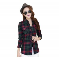 Women Paragraph Checkered Lines Green Cotton Casual Shirt WC-115