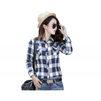 Women Paragraph Checkered Lines Light Blue Cotton Casual Shirt WC-116