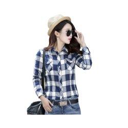 Women Paragraph Checkered Lines Light Blue Cotton Casual Shirt WC-116