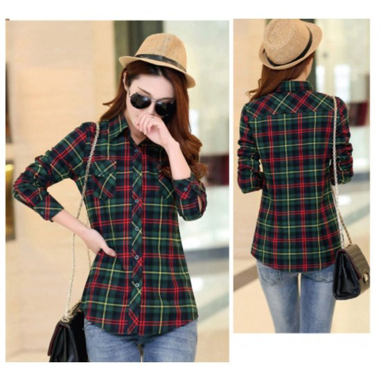 Women Paragraph Checkered Lines Green Cotton Casual Shirt WC-118