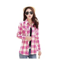 Women Paragraph Checkered Lines Red Cotton Casual Shirt WC-119