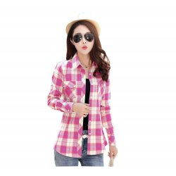 Women Paragraph Checkered Lines Pink Cotton Casual Shirt WC-119