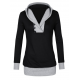 Women Button Style V-Neck Long Section Black Hoodie Sweater WH-18BK
