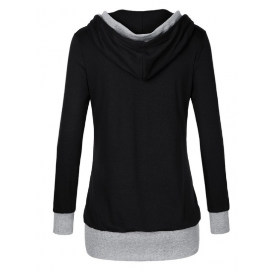 Women Button Style V-Neck Long Section Black Hoodie Sweater WH-18BK image
