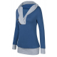 Women Button Style V-Neck Long Section Blue Hoodie Sweater WH-18BL image