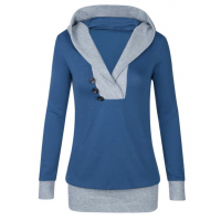 Women Button Style V-Neck Long Section Blue Hoodie Sweater WH-18BL