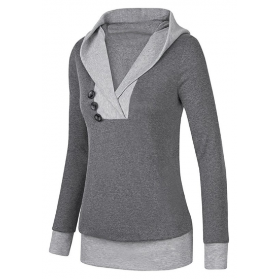 Women Button Style V-Neck Long Section Grey Hoodie Sweater WH-18GR