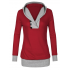 Women Button Style V-Neck Long Section Red Hoodie Sweater WH-18RD