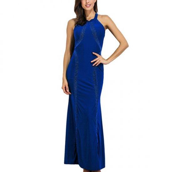 Women Body Tight Geometric Stitching Sexy Navy Blue Party Dress WC-80NB