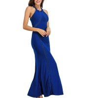 Women Body Tight Geometric Stitching Sexy Navy Blue Party Dress WC-80NB