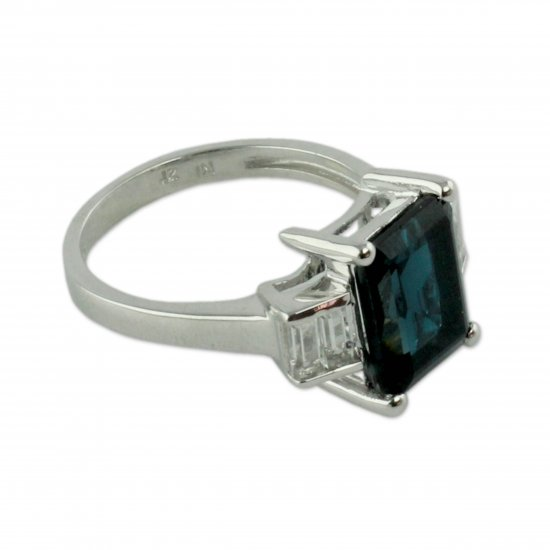 Jaipur Lady Artisan Crafted White and London Blue Topaz Cocktail Ring ANDR-48