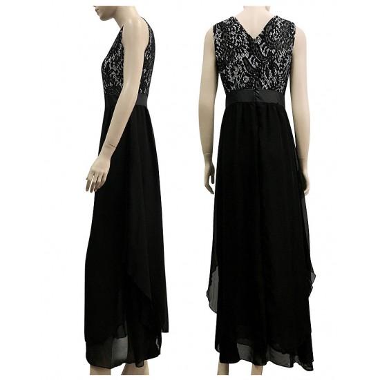 Women Black Elegant Lace & Chiffon Long Maxi Evening Party Dress WC-121Bk |image