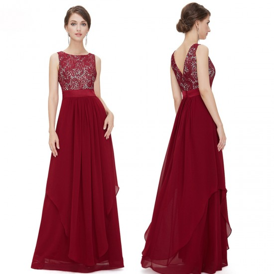 Women Red Elegant Lace & Chiffon Long Maxi Evening Party Dress WC-121RD |image