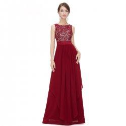 Women Red Elegant Lace & Chiffon Long Maxi Evening Party Dress WC-121RD