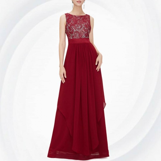 Women Red Elegant Lace & Chiffon Long Maxi Evening Party Dress WC-121RD |image
