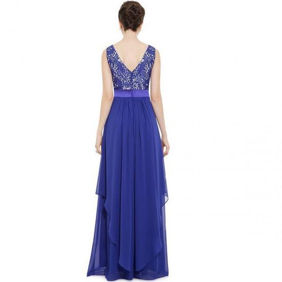 Women Blue Elegant Lace & Chiffon Long Maxi Evening Party Dress WC-121BL
