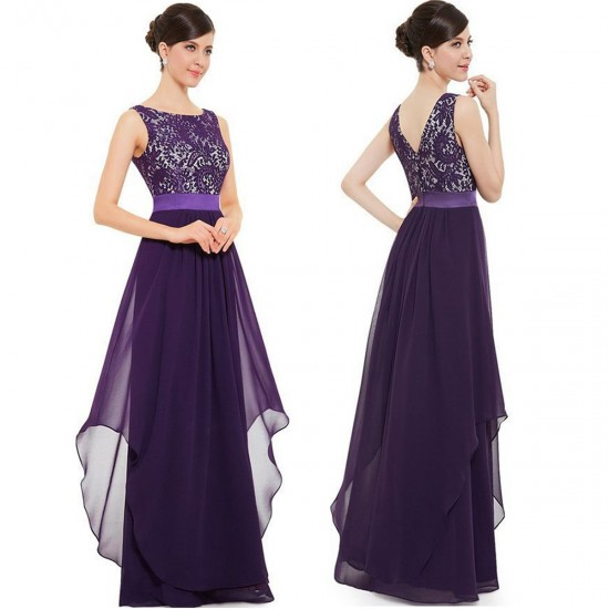 Women Elegant Lace & Chiffon Long Maxi Evening Party Dress WC-121PR