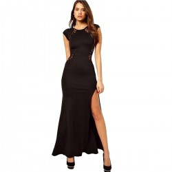 Women Black Maxi Dress with Lace Back and Fishtail Dress WC-123