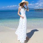 Women White Temperament Summer Beach Long Maxi Dress WC-124W| image