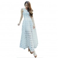 Women White Temperament Summer Beach Long Maxi Dress WC-124W